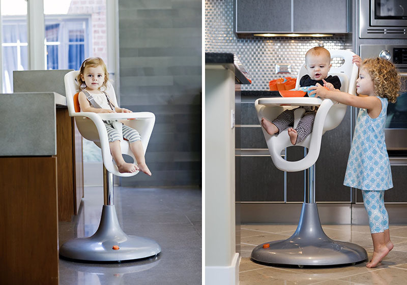 14 Modern High Chairs For Children // This modern high chair features a one piece seat, which makes clean up a whole lot easier.