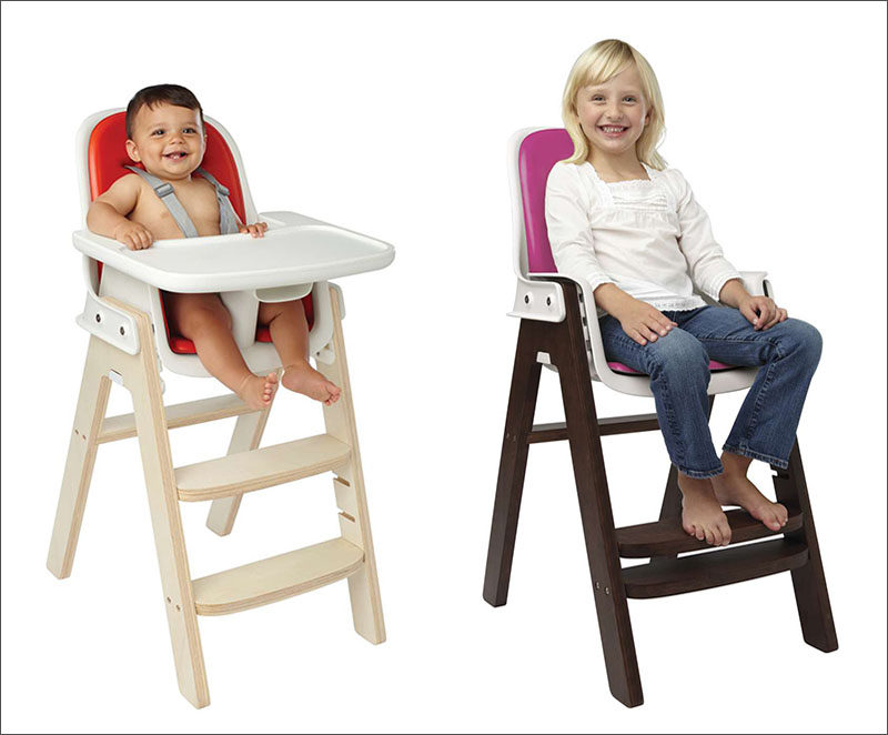 14 Modern High Chairs For Children // This adjustable high chair doesn't require any tools to make changes to it, just slide out the components and you're good to go.