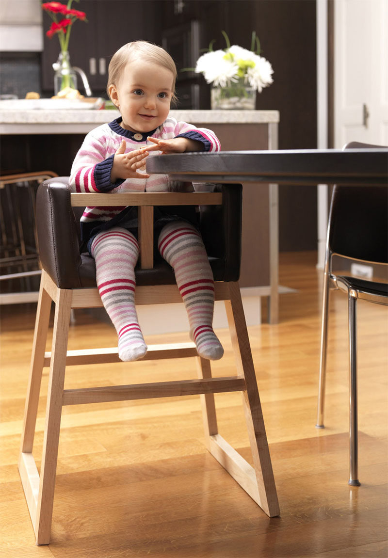 14 Modern High Chairs For Children // This Dark Leather And Wood High Chair  Will