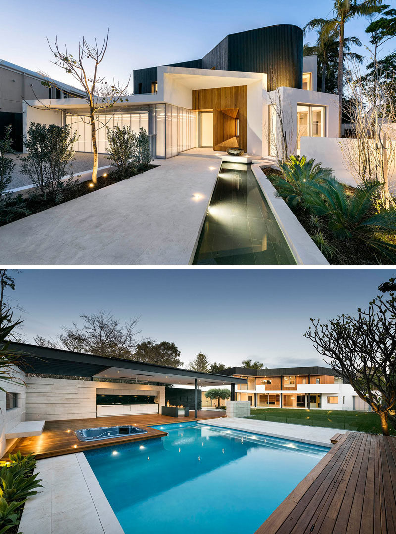 Celebrate Australia Day With These 14 Contemporary Australian Houses | This updated Perth home features a palette of white, black, and rich wood to create a modern look and feel, while still appreciating the original architecture of the house.