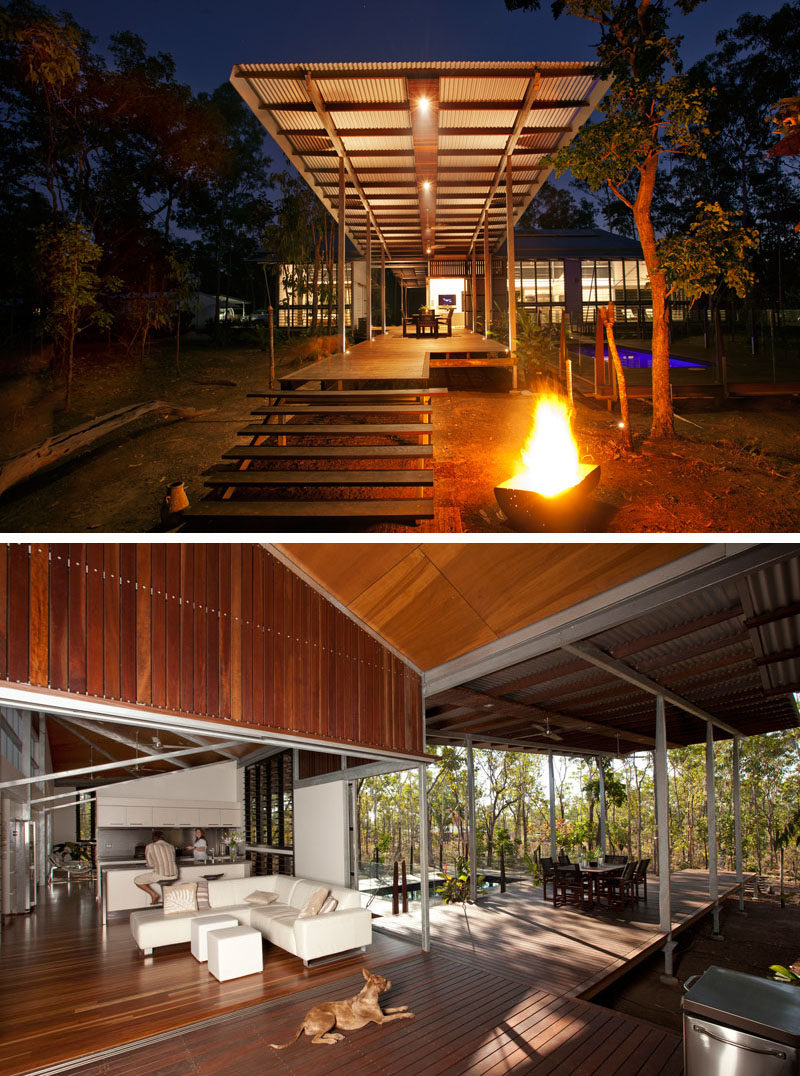 Celebrate Australia Day With These 14 Contemporary Australian Houses | A combination of wood and steel make up this Girraween home, located in the Northern Territory, that's perfect for indoor/outdoor living.
