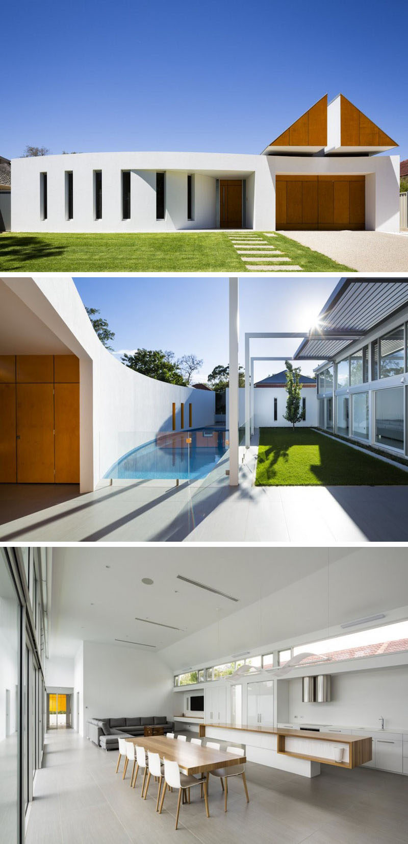 Celebrate Australia Day With These 14 Contemporary Australian Houses | The clean white look of the exterior of this Adelaide home continues inside where simple, bright, minimalist decor fills the space.