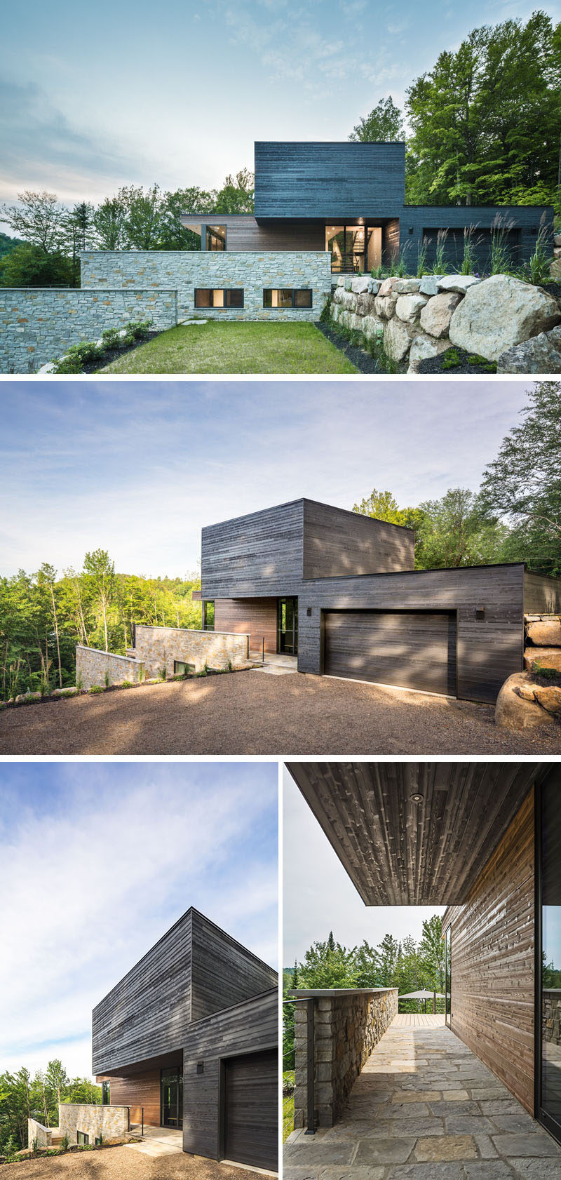 Light and dark wood have been used to separate the different areas of this home, with the dark wood section taking the form of a 'floating cube'.