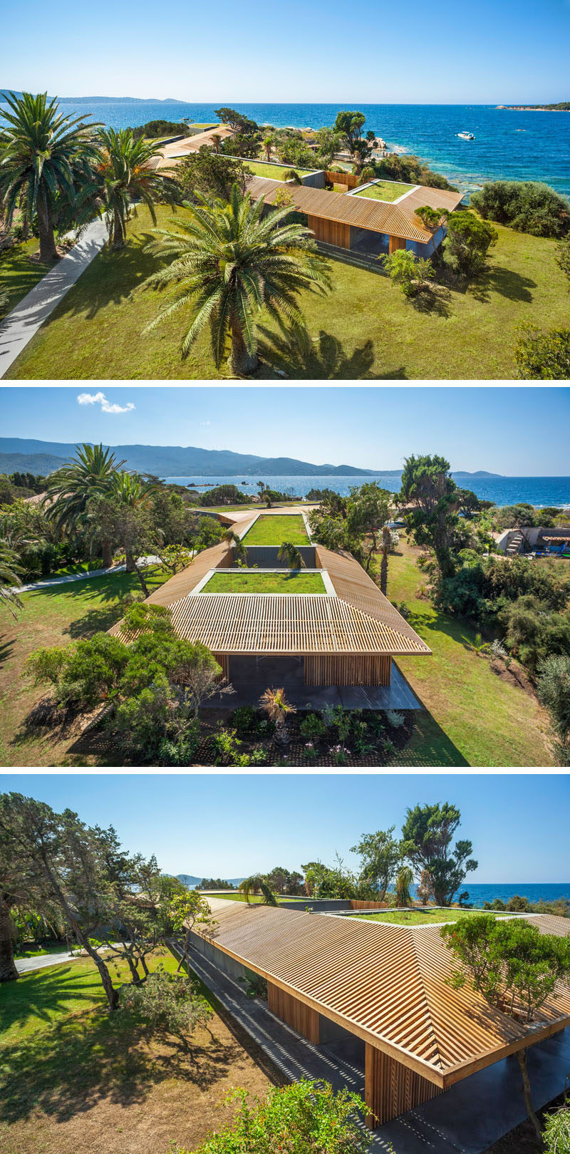 The design of this modern villa follows the natural curve of the peninsula and is broken up into four different sections.