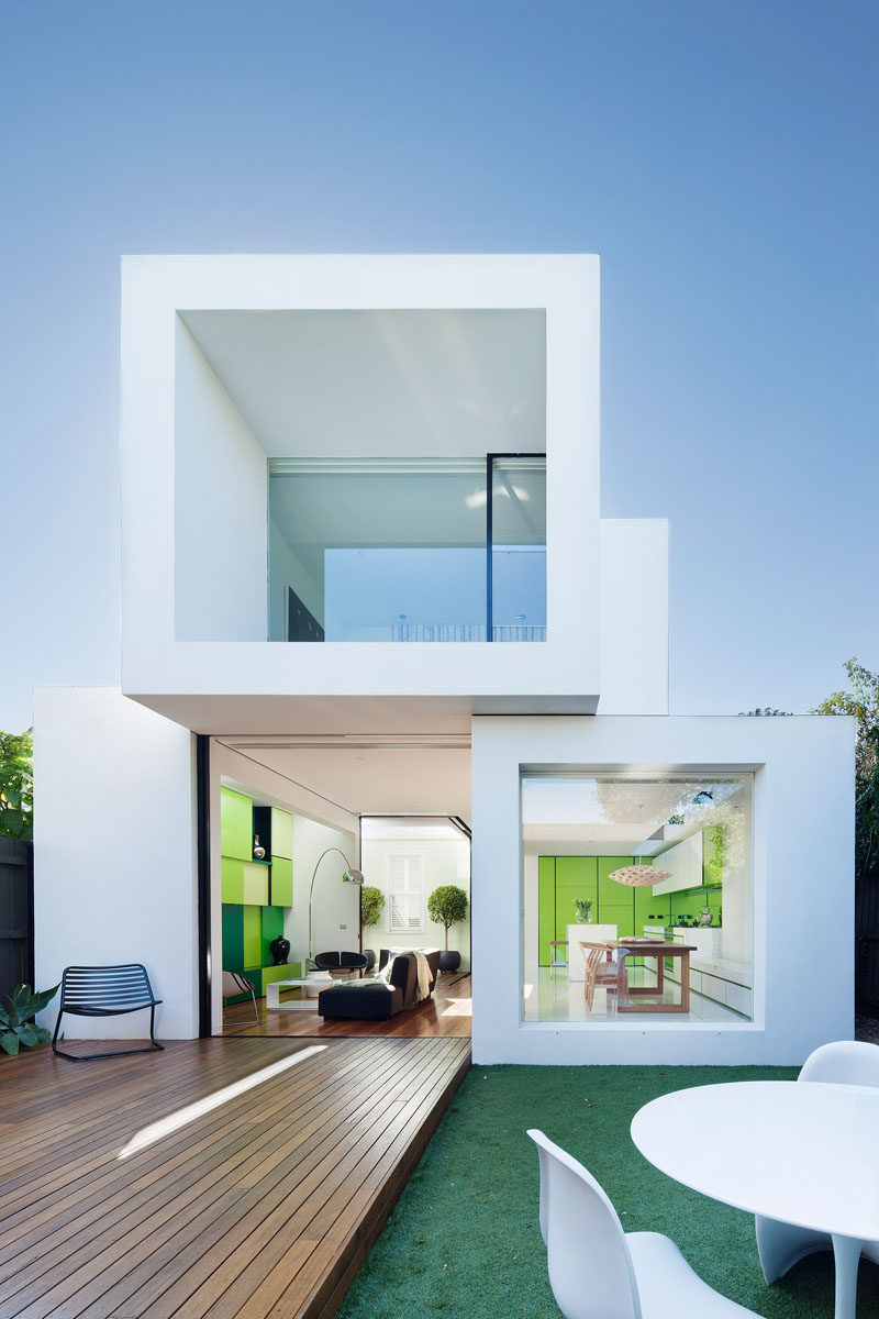 House Exterior Colors - 11 Modern White Houses From Around The World // This house looks like it's been made by stacking white blocks on top of each other to create a modern, open living space.