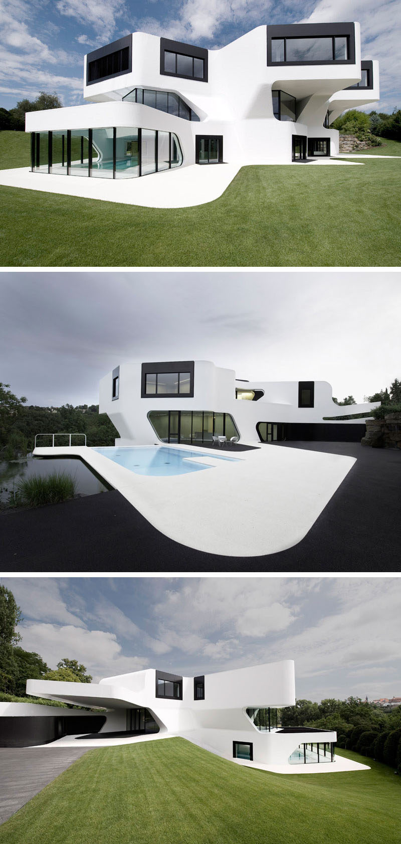 House exterior colors 11 modern white houses from around for Black and white house exterior design