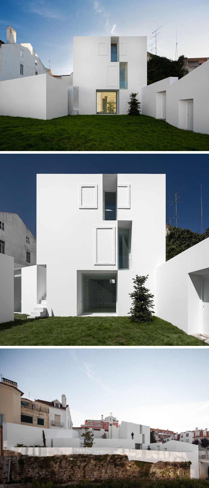 The Bright White Exterior Of This Angular Home Gives It A Clean Look And  Sets It Apart From The Other Houses Around It.