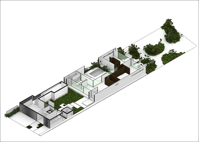 This diagram shows the layout of a single level, 2 bedroom modern home in Mexico.
