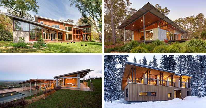 16 examples of modern houses with a sloped roof contemporist for Building a garage on a sloped lot