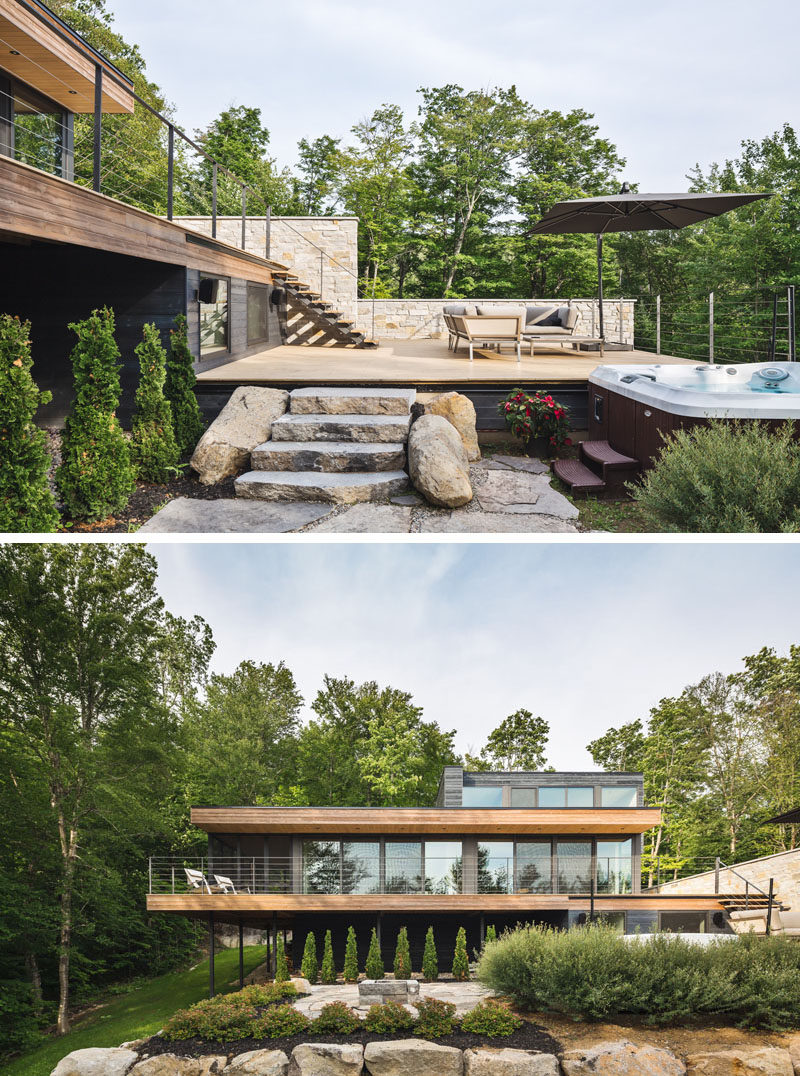 Staggered levels of this contemporary house creates outdoor terraced areas that are perfect for entertaining.