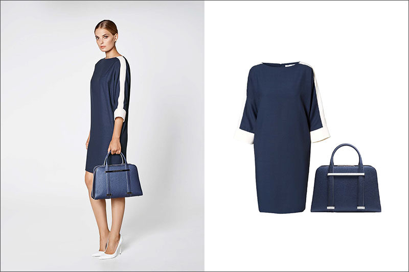 Women's Fashion Ideas - 12 Women's Outfits From Porsche Design's 2017 Spring/Summer Collection // A navy and white boat neck dress is paired with a navy purse in this simple women's outfit.