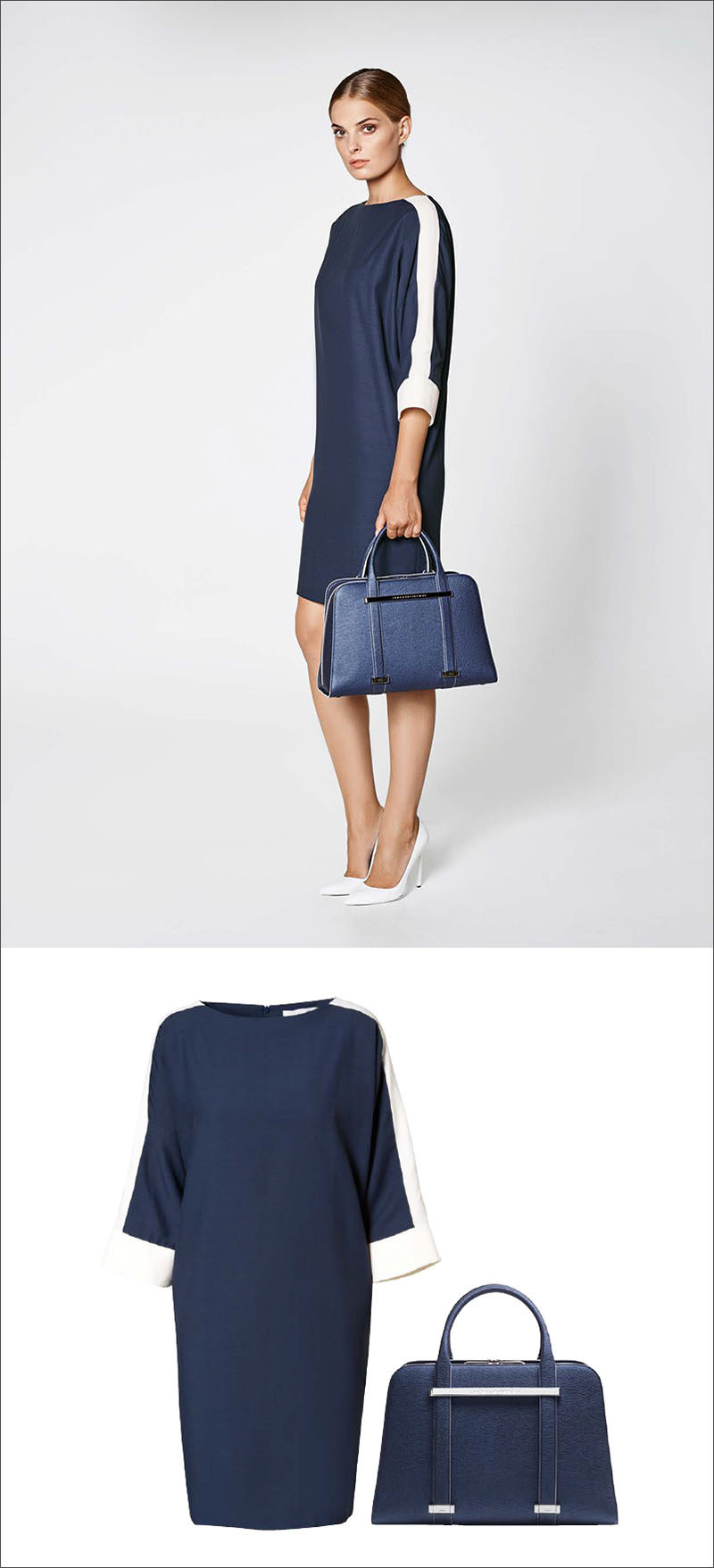 Women's Fashion Ideas - 12 Womens Outfits From Porsche Design's 2017 Spring/Summer Collection // A navy and white boat neck dress is paired with a navy purse in this simple women's outfit.