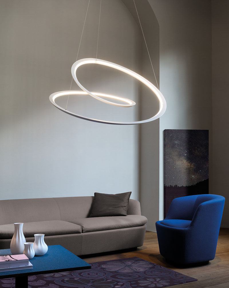 Light Design - Arihiro Miyake Creates A Sculptural Mobius Strip Inspired Lamp. Designer Arihiro Miyake has created the Kepler Pendant Lamp for Italian lighting manufacturer NEMO, that features an endless line made from aluminum. The pendant light uses linear LED lights to create a soft glow, while the epoxy-coated aluminum in a matte white or black, gives it a modern, sculptural look.