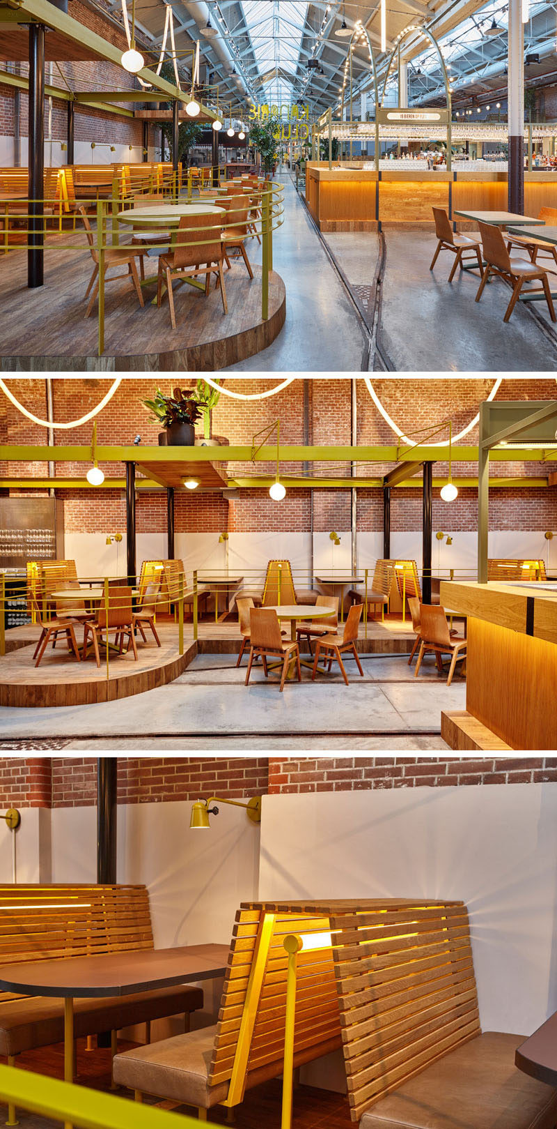 In this renovated tram depot that's now a restaurant, custom made furniture throughout resembles the vintage design of the old electric tram seats.