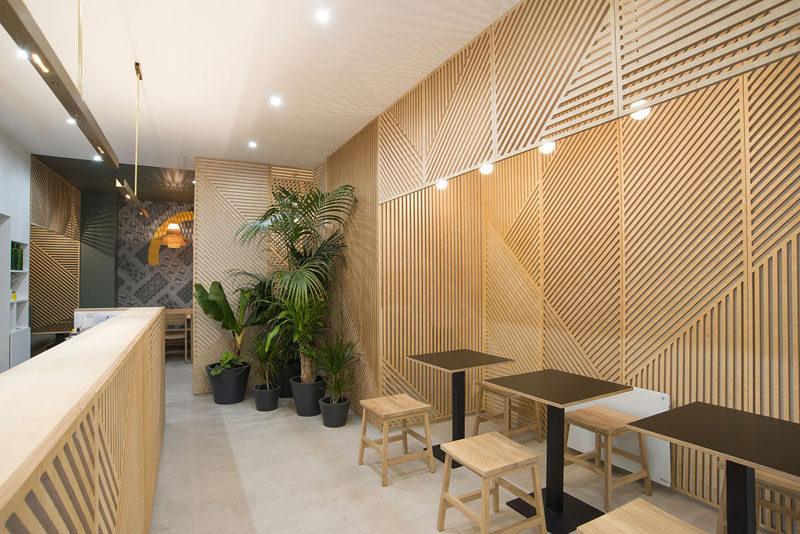 wall decor idea - this restaurant covered its walls with wood