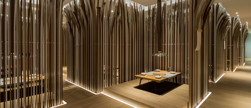 Restaurant Interior Design Ideas - Golucci International Design have recently completed Si-Pu Nabe, a modern hotpot restaurant in Shanghai, China, that features a forest-like appearance.