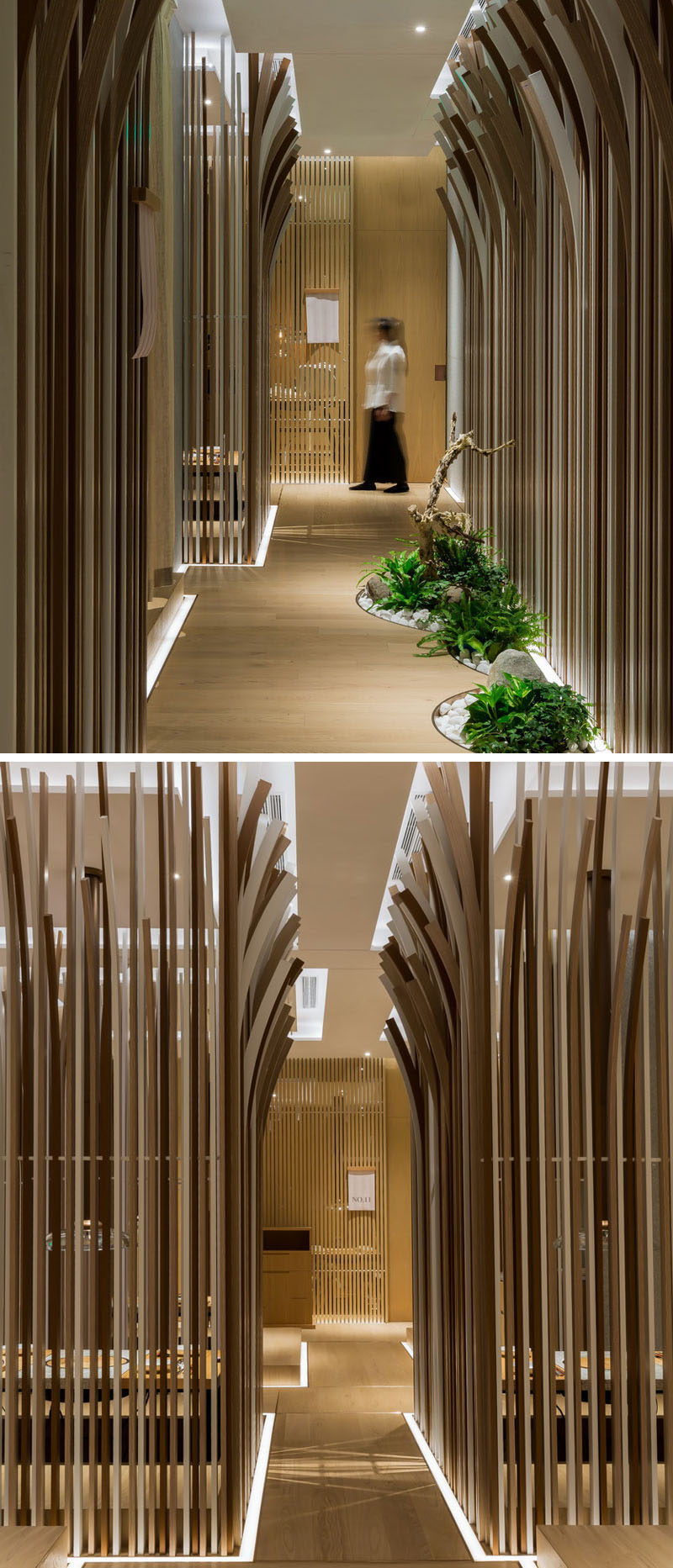 The Tables In This Restaurant Are Surrounded By A Forest Of Curved Wooden Strips