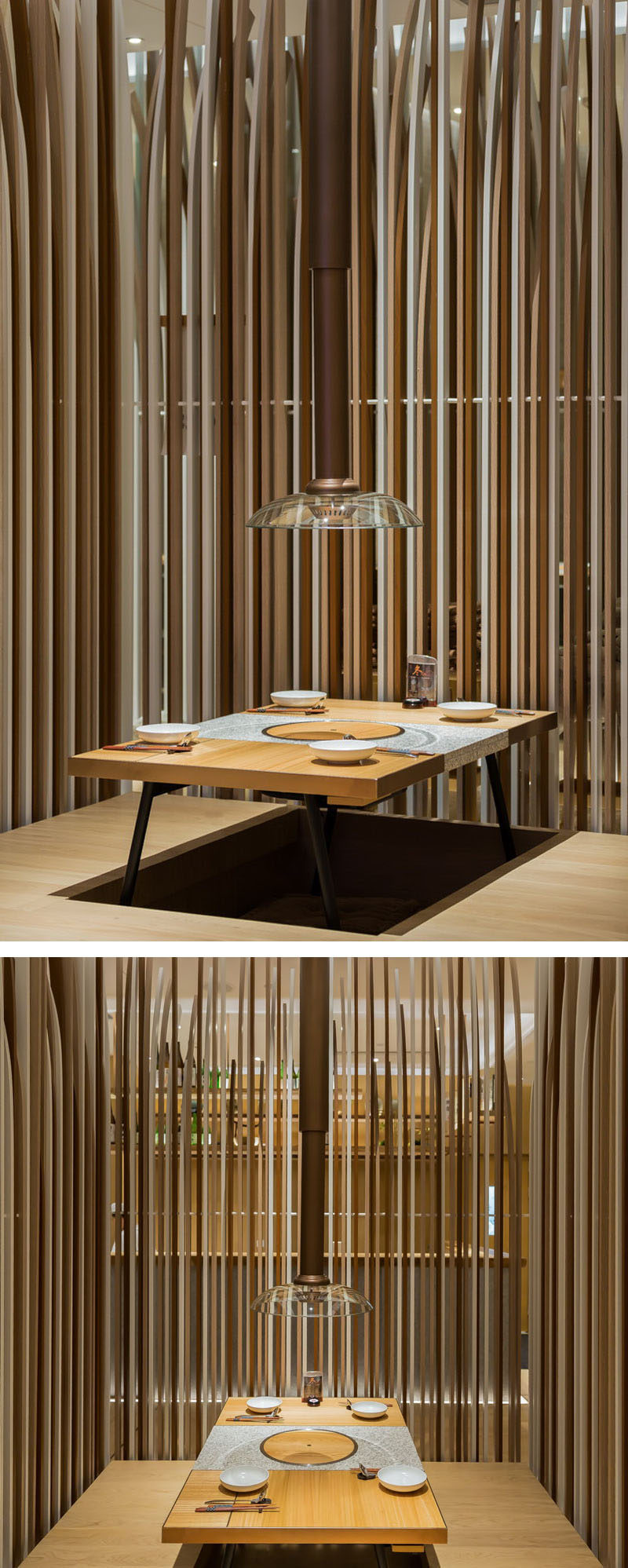 Restaurant Interior Design Ideas - In this hotpot restaurant, some of the tables allow you to sit slightly raised up from the floor with your legs tucked in underneath the tatami style table.