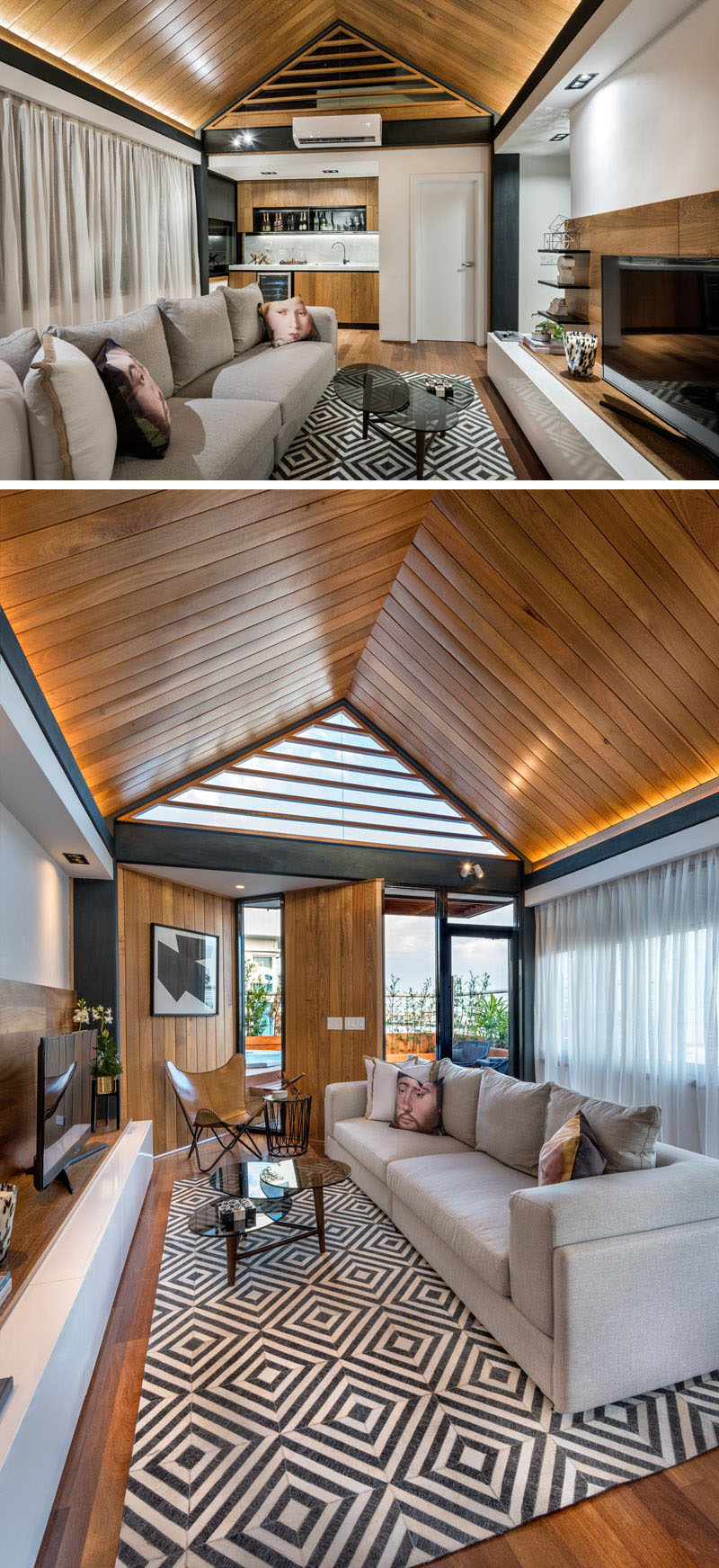 This rooftop terrace is home to a gabled wooden ceiling with hidden lighting. There's also a small kitchen/bar area and a large couch makes for a comfortable spot to watch movies.