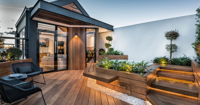 This rooftop has been turned into a living space for a family to relax in