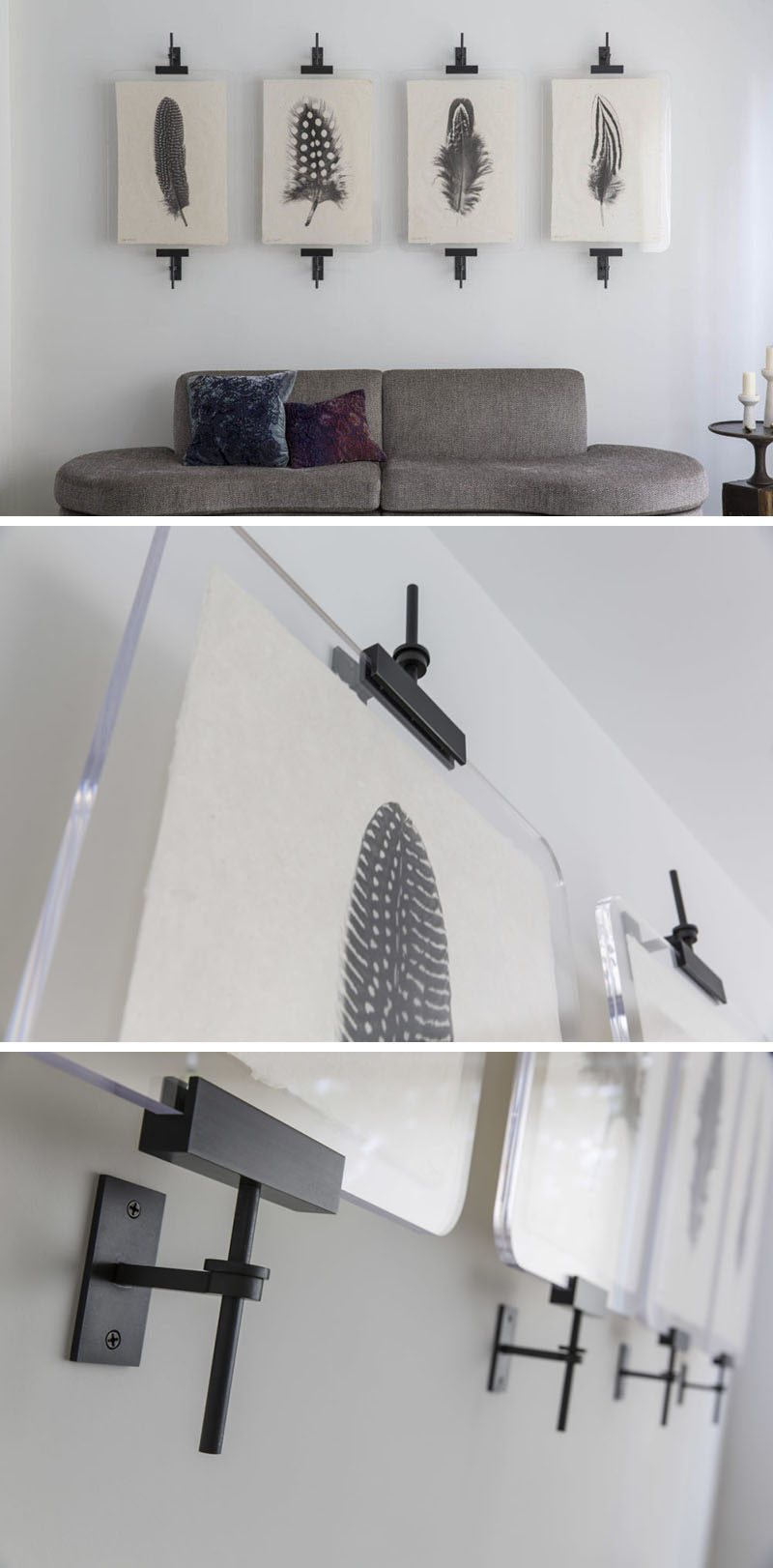 Wall Art Display Ideas - These contemporary industrial metal clamps are an alternative way to display a collection. Amuneal has added a new item to their portfolio, called the Modern Easel. It's designed to hang your art on your walls a clean modern way using clamps.