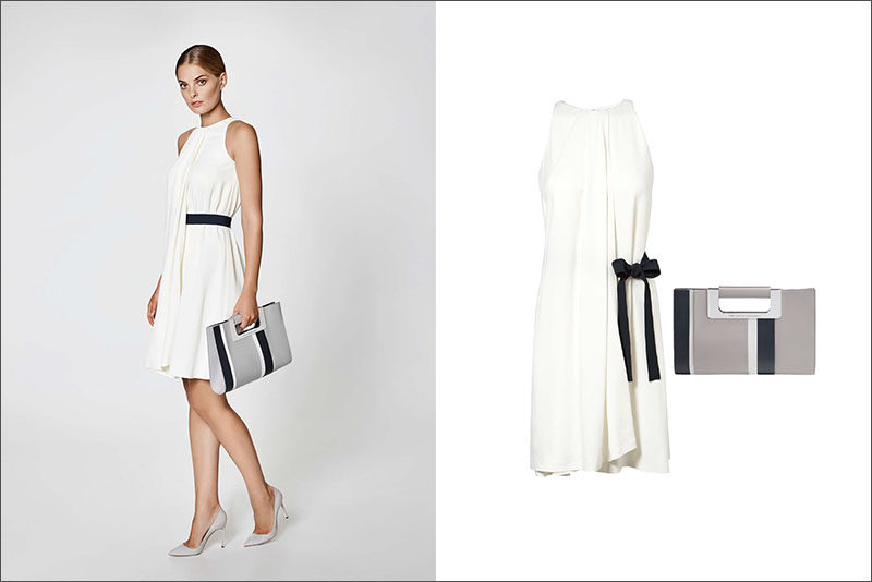 Women's Fashion Ideas - 12 Womens Outfits From Porsche Design's 2017 Spring/Summer Collection // This simple white women's dress featuring a navy side bow and a navy and grey clutch create the perfect spring evening outfit.