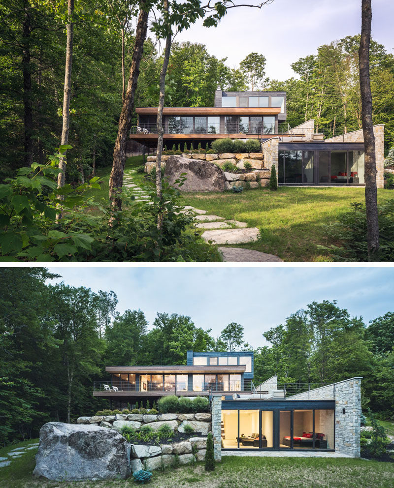 Modern Forest House: Wood And Stone Cover The Exterior Of This Multi-Level