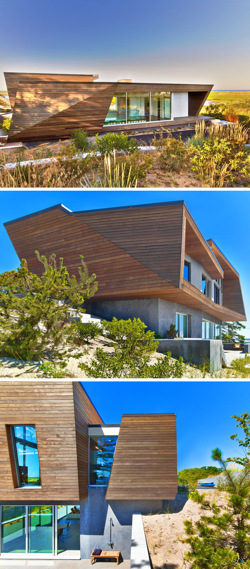 This two-storey wood-clad beach house was designed to fit within the city's 23 ft. height limit for residential houses, and by doing so, the home snugly fits into the sloped site.