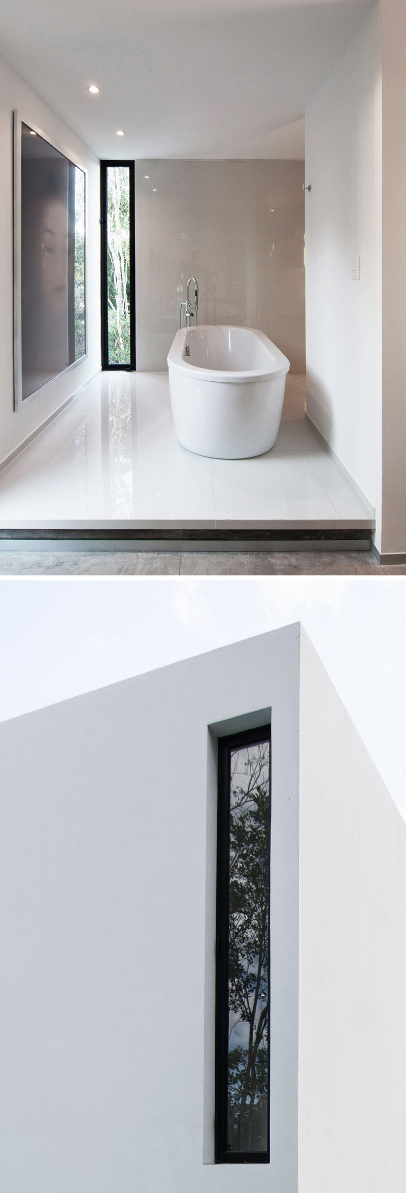 Window Style Ideas - Narrow Vertical Windows // The narrow window in this second floor bathroom allows the freedom of looking out but prevents people down below from seeing more than you'd like them to.