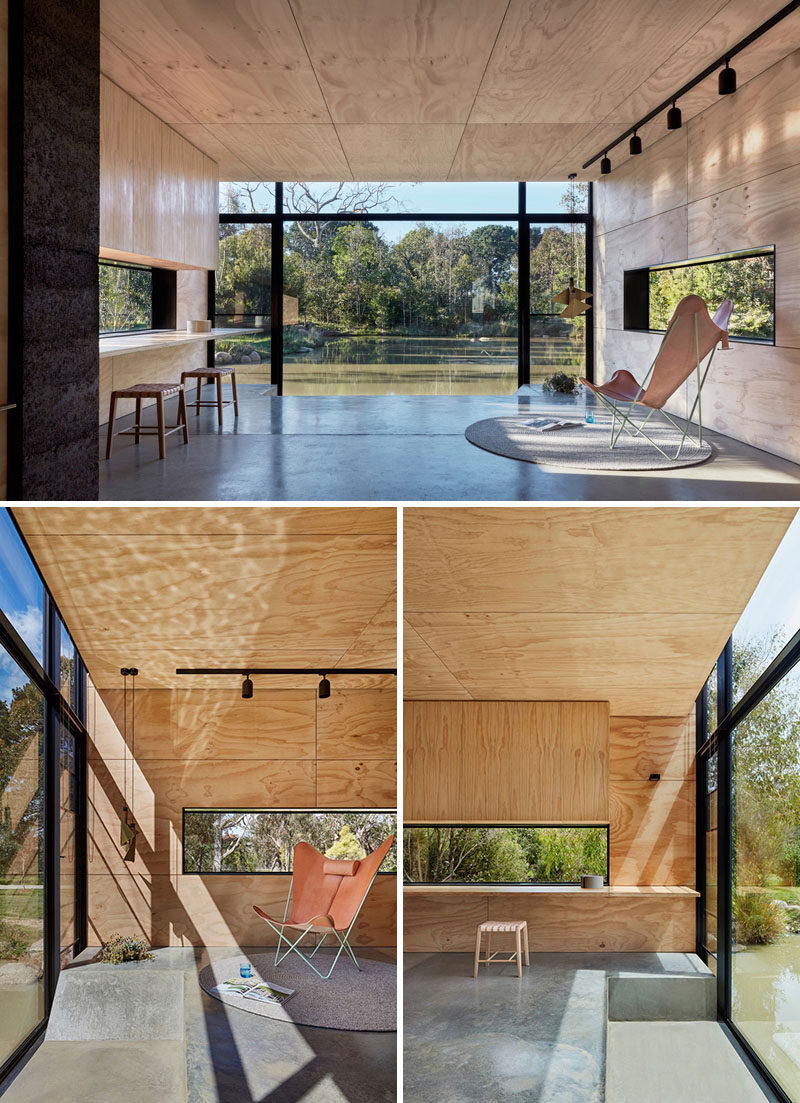 In this backyard studio, the interior has been covered in plywood and a large window gives you a perfect view of the pond. In front of the window, there's a sunken day bed allowing you to almost sit at eye level to watch the ducks. A group of plywood boxes have been designed to 'infill' the sunken section and provide a consistent floor level when the space is being used for gatherings and parties.