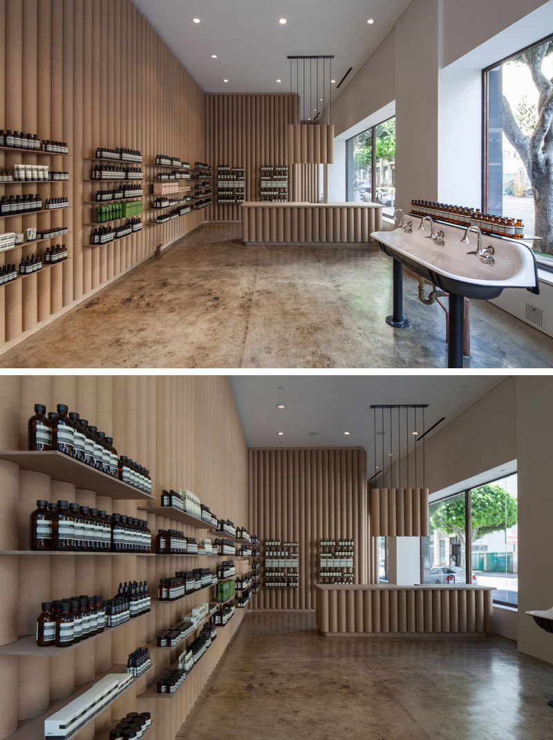 Cardboard Tubes Have Been Used Throughout This Aesop Store In ...