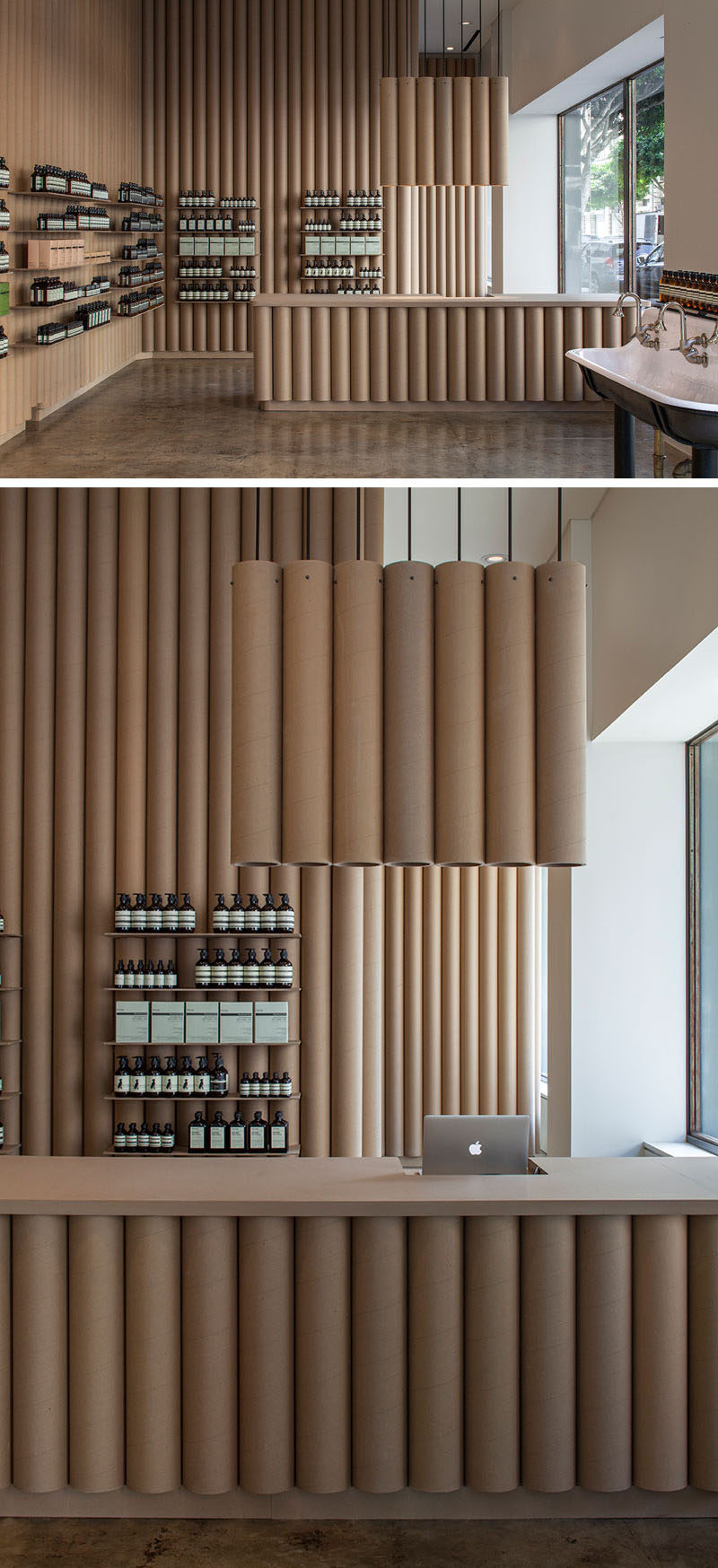 Brooks + Scarpa designed this Aesop store in downtown LA that features 6 inch cardboard tube walls, furniture and fixtures.