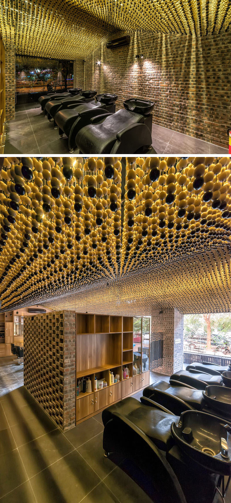 Ceiling Design Ideas - 200,000 Wood Beads Cover The Ceiling In This Hair Salon