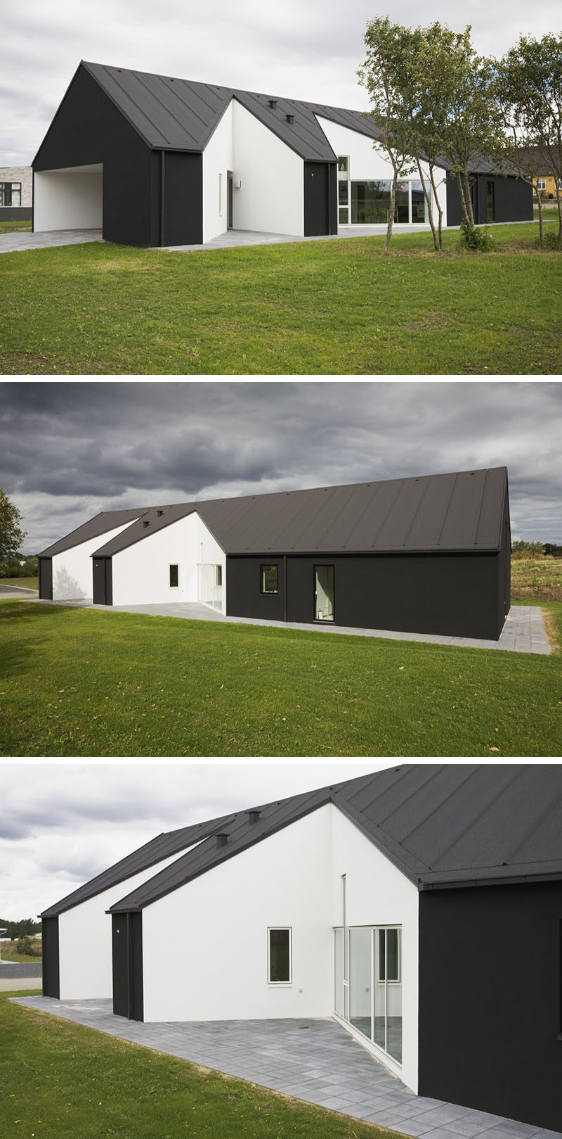 19 Examples Of Modern Scandinavian House Designs | This black house has  white cut outs on