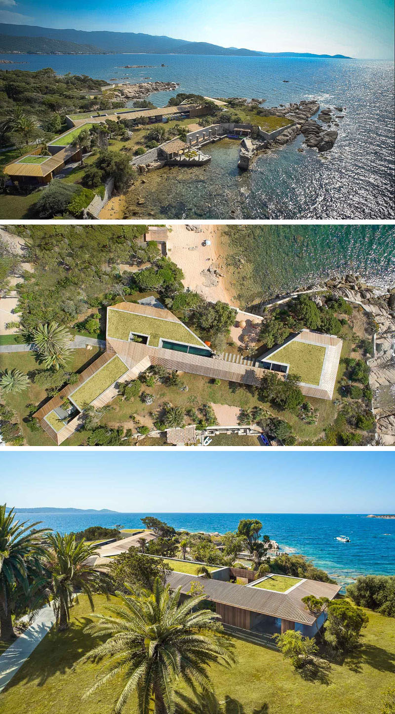 This villa sits on a peninsula surrounded by a beach on one side, and a small harbor area on the other.