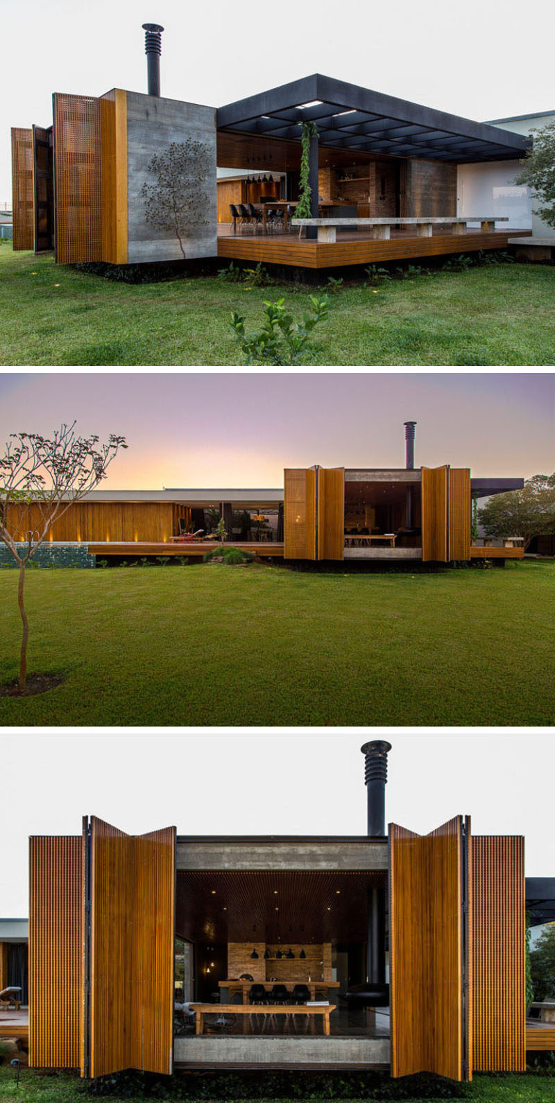 15 examples of single story modern houses from around the for Contemporary house plans single story