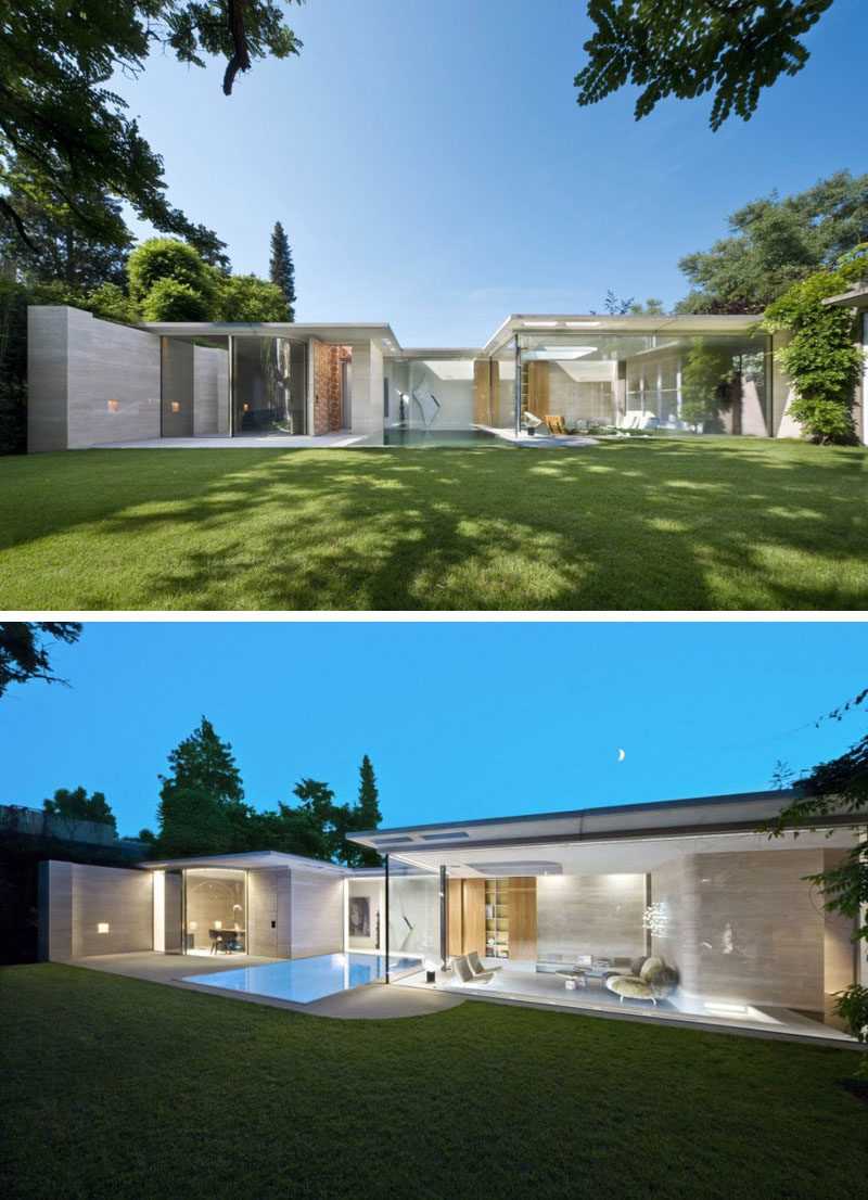15 single story modern houses glass walls make up the back of this single story