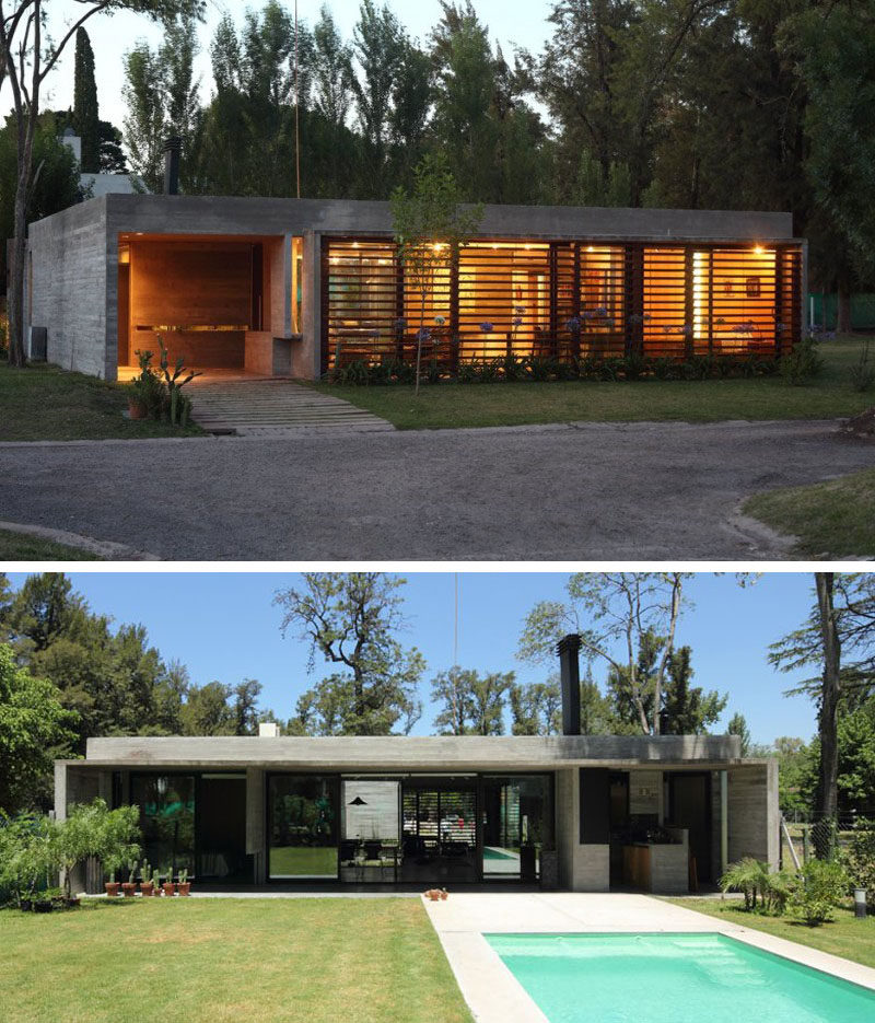 15 examples of single story modern houses from around the for Modern single story house