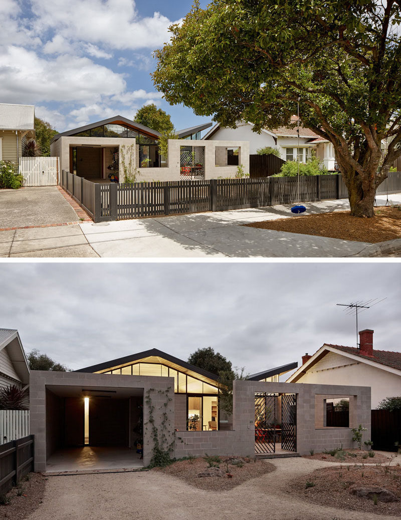 15 Single Story Modern Houses | The living space of this small single story house has been extended with the help of a semi-private courtyard at the front of the home.