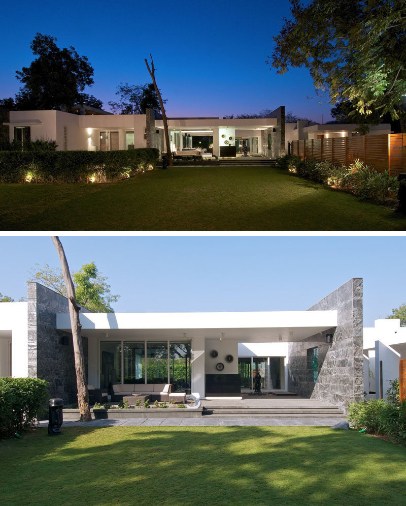 15 examples of single story modern houses from around the for Contemporary house pictures