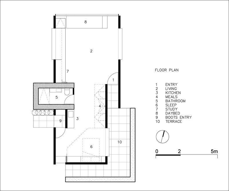 This is the floor plan of a backyard retreat that can be used as a home office, yoga studio or entertaining space.