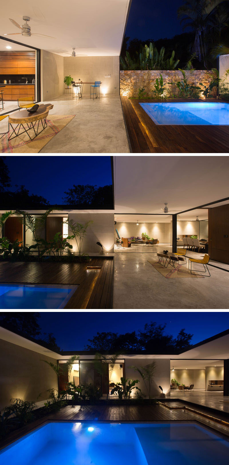 This home wraps around a courtyard and due to the design of the home, a large overhang created a covered outdoor entertaining space.