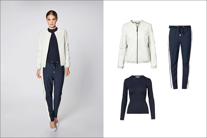 Women's Fashion Ideas - 12 Women's Outfits From Porsche Design's 2017 Spring/Summer Collection // Casual pants have been dressed up with a navy crew neck sweater and light weight white jacket.