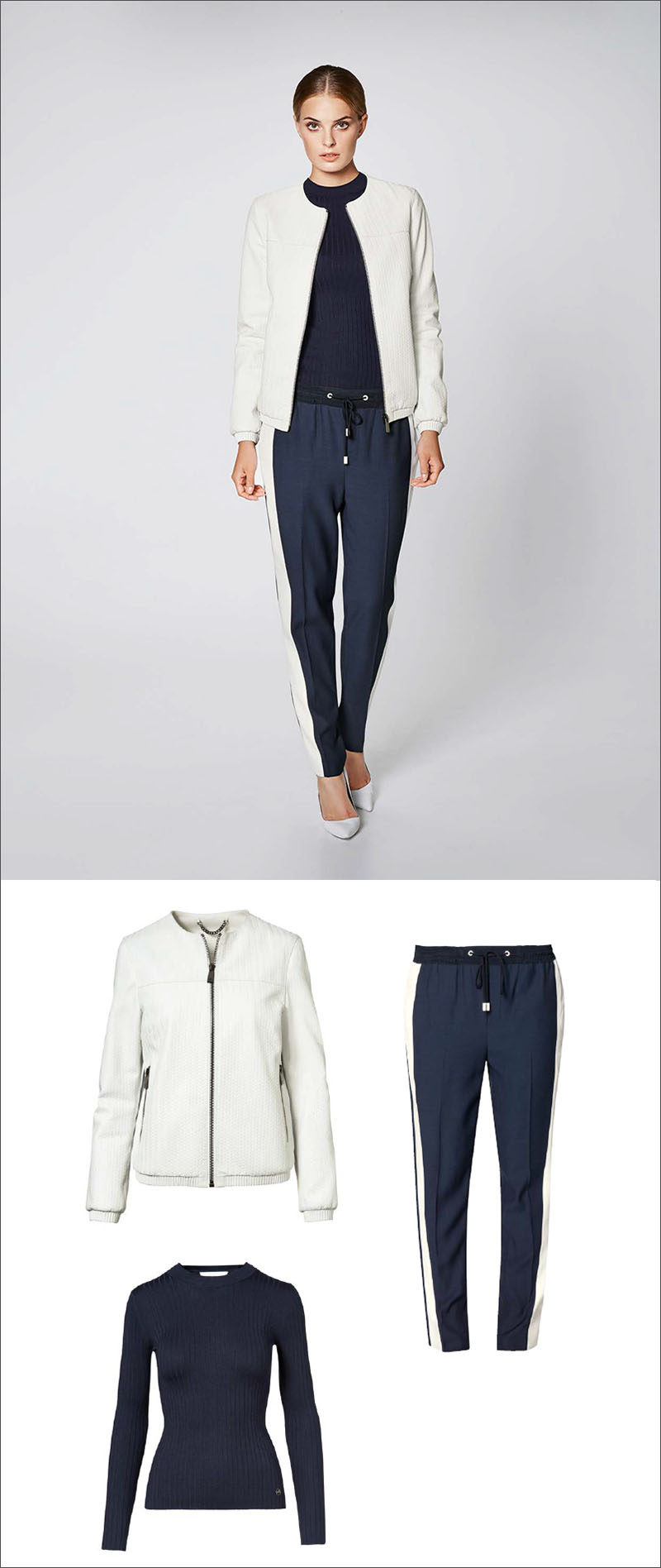 Women's Fashion Ideas - 12 Womens Outfits From Porsche Design's 2017 Spring/Summer Collection // Casual pants have been dressed up with a navy crew neck sweater and light weight white jacket.