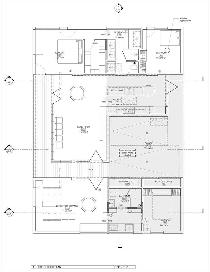 This contemporary house floor plan shows that there are two separate units divided by a breezeway.