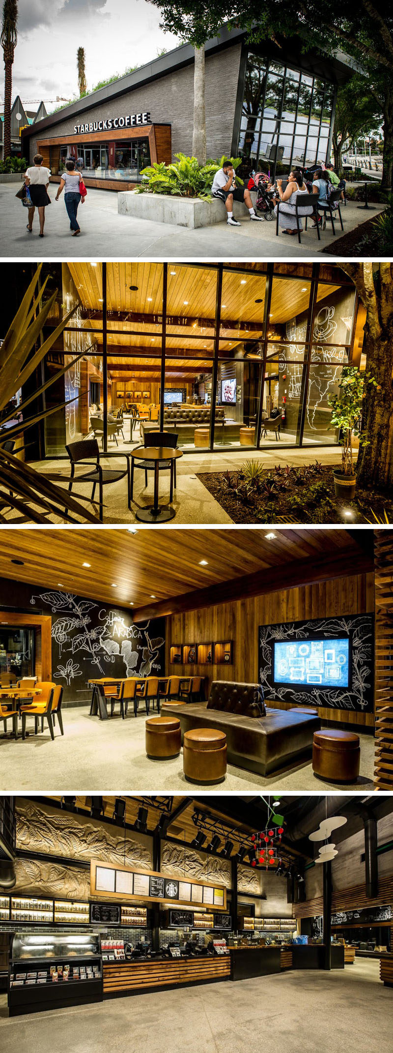 11 Starbucks Coffee Shops From Around The World // This Starbucks location in Downtown Disney at Orlando, Florida, has lemongrass growing on the sloped roof, while large windows allow people walking past to see into the interior that has wooden tables and chairs and comfy leather couches.