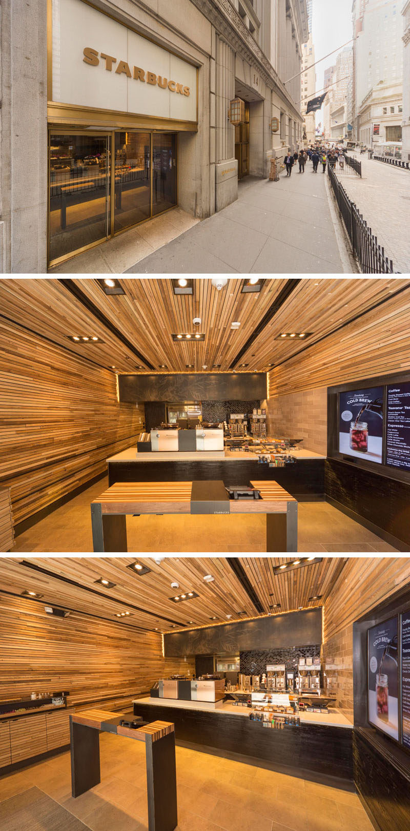 11 Starbucks Coffee Shops From Around The World // This compact Starbucks location on Wall Street in New York City, has streamlined their process to make getting your coffee and snacks that much faster while at the same time maintaining a sophisticated style suitable for it's Wall Street location.