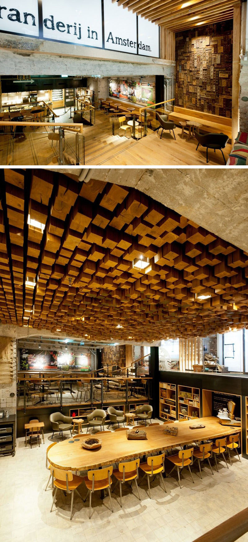 11 Starbucks Coffee Shops From Around The World // By including many Dutch elements in the design of this location and keeping original elements of the structure - like the marble floor - this Starbucks concept store in Amsterdam takes away some of the American feel and makes the store feel a bit more like a local coffee shop.
