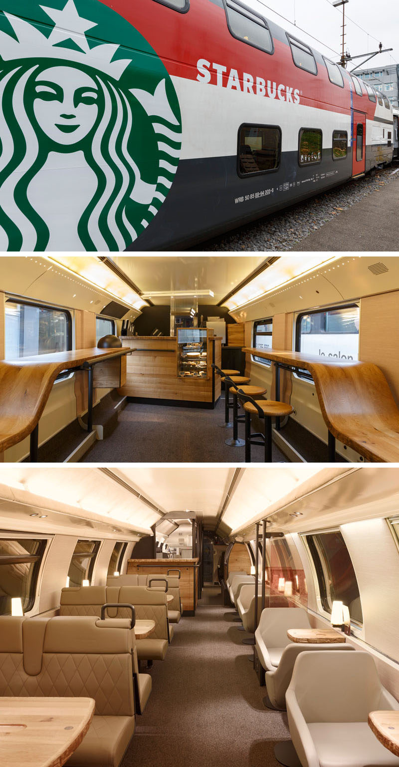 11 Starbucks Coffee Shops From Around The World // The luxury of train travel gets even more luxurious with the addition of a double-decker Starbucks car, that features a walk up bar complete with a small food display as well as an upstairs in which train riders can order their food and coffee from the comfort of their padded leather seats.
