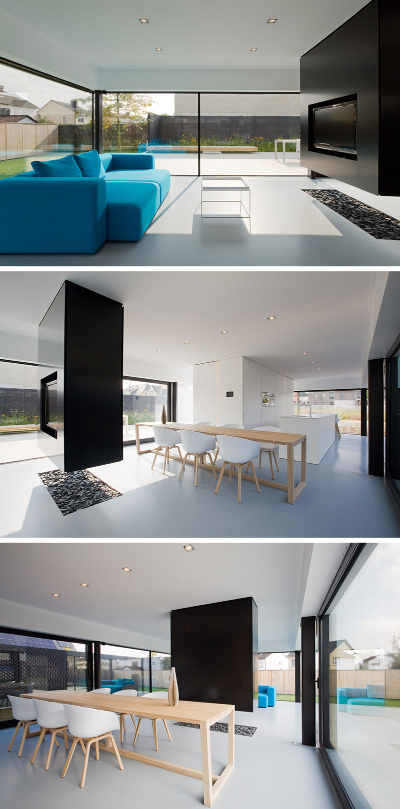 Interior Design Ideas - A suspended TV wall and room divider